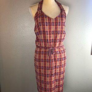Tocca Purple Orange Plaid Halter Dress NWT 10